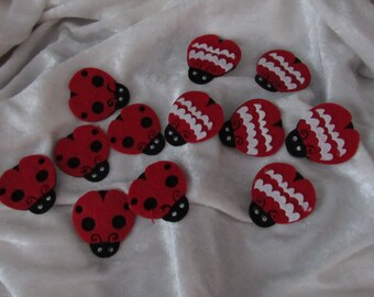 Set of 12 cute felt Ladybug stickers