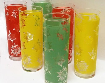 Set of 6 Vintage Tom Collins Glasses Federal Glass Co. Snowflakes Design