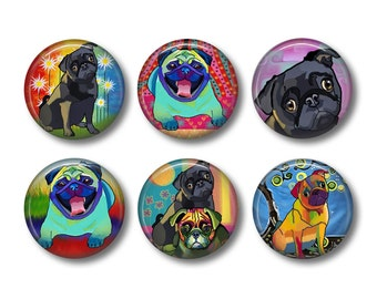 Pug Magnet, Pug Gift, Dog Lover Gift, Fridge Magnet, Refrigerator Magnets, Magnet Set