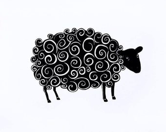 The Black Sheep, giclée print, pen and ink drawing