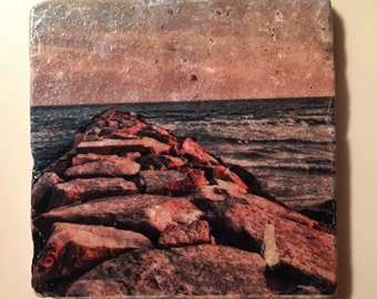 Ocean Lithograph Marble Coasters