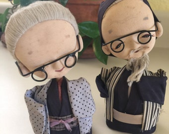 Asian Elderly Couple Handcrafted Doll Set