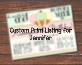 Custom Print Listing for Jennifer