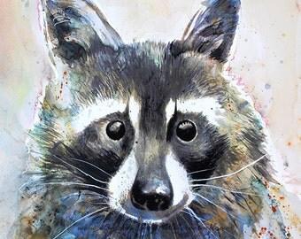 Watercolor racoon print, woodlands animal, original watercolor, nursery decor, forest animal, woodlands art - 1