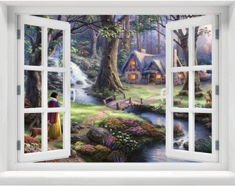 Window with a View Disney Snow White Cottage Enchanted Forest  Wall Mural