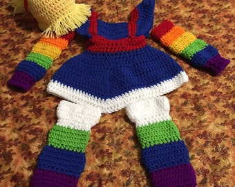 Crochet Rainbow brite halloween costume, cosplay