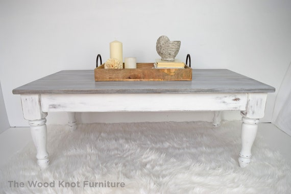 White And Gray Distressed Coffee Table Annie Sloan Chalk