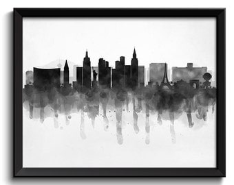 Las Vegas Skyline Nevada USA United States Cityscape Art Print Poster Black White Grey Watercolor Painting