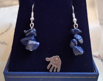 Natural gemstone Lapis Lazuli dangle earrings