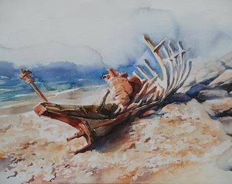 ORIGINAL WATERCOLOR on Arches paper, marine landscape, 54 cm X 36cm, figurative art painting