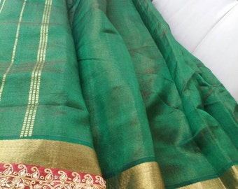 Maroon~Golden Handwork Kasab border On Dark Green Silk Cotton Saree~Brand new~ FREE SHIPPING.