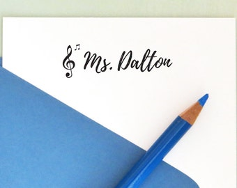 Music Teacher Stamp, Back to School, Treble Clef Stamp, Music Notes Stamp, Teacher Appreciation Gift, Personalized Name Stamp, AT107