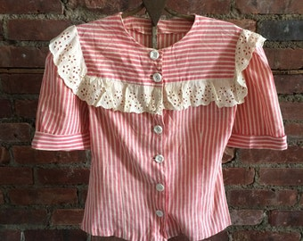 Late 30s Early 40s Red and White Stripe Blouse