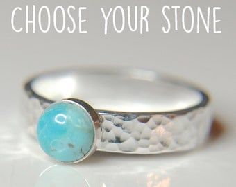 Turquoise Sterling silver ring, hammered silver ring with beautiful blue gemstone - available with many stones