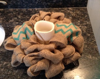 Candle Ring, Burlap, Shabby Chic Candle Ring, Small Wreath, Chevron Burlap Candle Ring, Home Accessories, Rustic Burlap, Home Decor