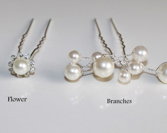Ivory Pearl and Rhinestone Wedding Hair Pins- Shape of Flower and Pearl Branches- Set of  Pearl Hair Pins- Rhinestone Pearl Hair Accesories