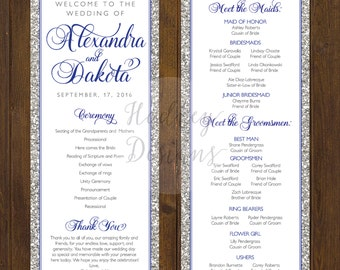 Glitter Wedding Program, Modern Wedding Program, Purple Wedding Program, Classic Wedding Program, Elegant Program