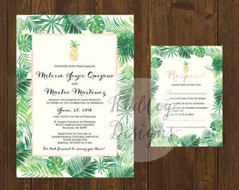 Pineapple Wedding Invitation, Tropical Wedding Invitation, Beach Wedding Invite, Hawaiian Wedding Invite, Destination Wedding Invitation