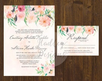 Watercolor Floral Wedding Invitation, Elegant Wedding Invitation,  Floral Wedding Invite, Watercolor Wedding Invite, Water color invitation