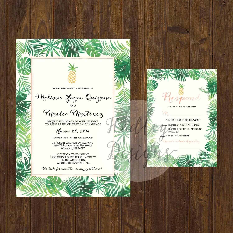 Wedding Invitations Hawaii: Pineapple Wedding Invitation Tropical Wedding Invitation