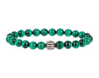 Malachite & Gunmetal Stretch Bracelet