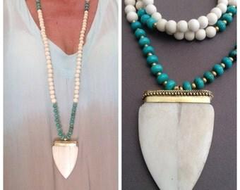 Long ethnic boho Necklace bone and brass, wood beads, brass and turquoise - boho - chic hippie / boho necklace