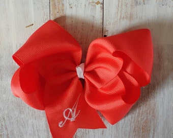 Embroidery Initial Hairbows Lots of colors.  Any letter!