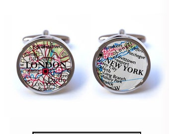Map Cufflinks - Personalised Map Cufflinks for Men - Wedding Cufflinks