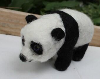 Adorable Needle Felted Panda Bear, Needle Felted Giant Panda