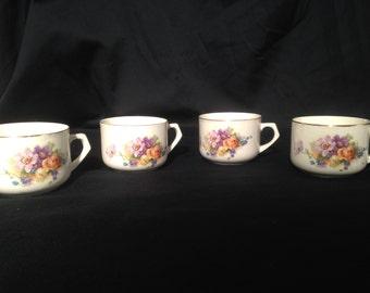 Red Lion Mark Teacups,Floral teacups made in Germany,Rare Red Lion Mark floral Teacups