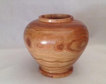Small hand-turned decorative vase, southwestern style, chinaberry wood