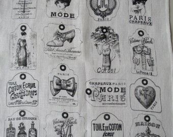 Sajou Antique Labels French Linen Printed Glass Cloth/ Tea Towel