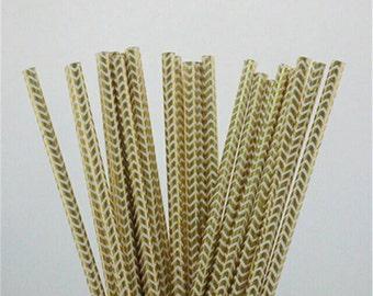Gold and Silver Foil Chevron Paper Straws