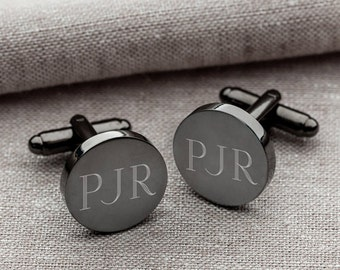 Engraved Mens Cufflinks - Personalized Gunmetal Round Cuff Links