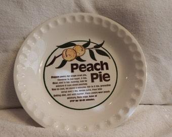PIE PLATE PEACH, Pie Plate with Peach Recipe, Home Decor,Bakeware, 1970's