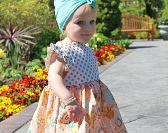 Girls Cactus Dress, Ruffle Sleeve Dress, Girls Party Dress, Twirl Dress, Toddler Dress, Organic Toddler Dress, Cactus Outfit, Girls Dress