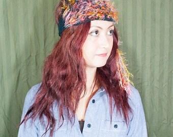 Multicolor hand knit head wrap