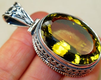 95cttw Vinatge Style Citrine & 925 Sterling Silver Pendant by Silver Trend, Victorian style, Handcrafted Jewelry