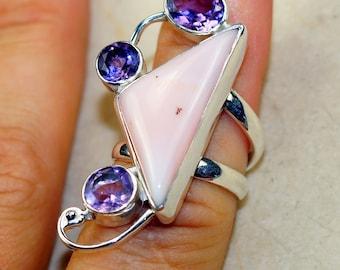 Pink Opal with Amethyst & 925 Sterling Silver Ring size 6.5
