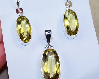 Citrine   & 925 Sterling Silver  Earrings and Pendant Set