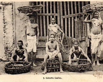 Calcutta Coolies: Vintage India Postcard