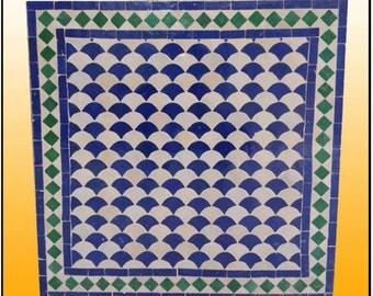 "24"" Sq. Green / White / Blue Moroccan Mosaic Table"