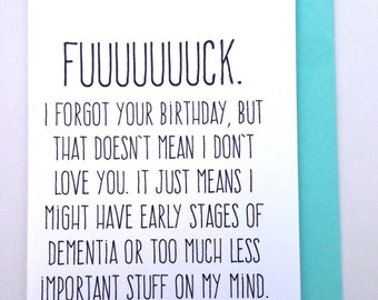 Funny belated birthday card - mature