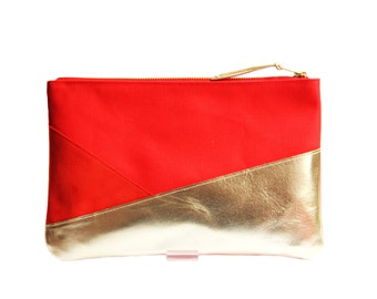 Cotton pouch. Leather clutch. Red cotton clutch. Metallic leather. Pouches. Canvas.