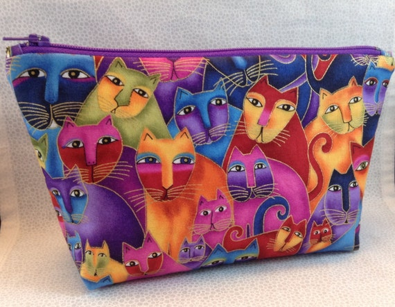 items similar to cosmetic bag large cats purple yellow pink blue green orange make up. Black Bedroom Furniture Sets. Home Design Ideas
