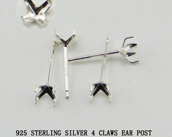 40 Pair Ear Stud Setting,Earring Posts,Sterling Silver Earring Post Findings,Faceted Stone Setting,4MM,5MM,6MM,8MM 4 Prongs Claws Earrings