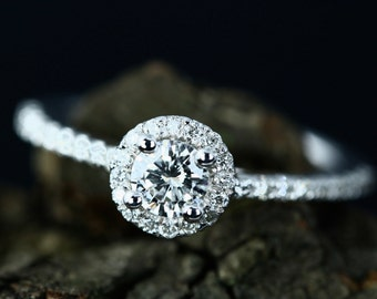 Engagement Ring 4mm/0.25 Carats Round Cut Natural Diamond 14k White Gold Diamond Halo Anniversary Ring (Other Metals & Stone Available)