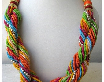 Multi Color Twisted Statement Necklace/Chunky Necklace/Bib Necklace/Beaded Necklace - Costume Jewelry for Women
