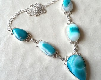 Aqua Blue Textured Agate Bib Necklace in Silver Plating/Natural Gemstone Necklace