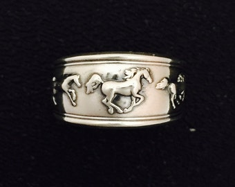Kabana Equestrian Stallion Horse 925 Sterling Silver Ring Size 7